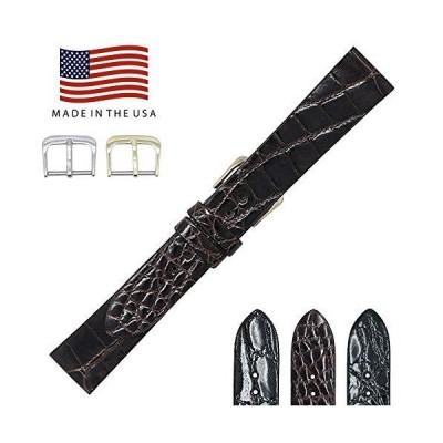 20mm Brown Glazed Genuine Alligator - Flat Unstitched Watch Strap Band - Go