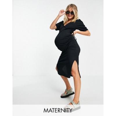 ミスガイデッド Missguided Maternity レディース ワンピース ラップドレス ワンピース・ドレス ribbed wrap dress with puff sleeves in black ブラック