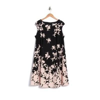 ロンドンタイムス レディース ワンピース トップス Floral Fit & Flare Dress BLACK/PINK