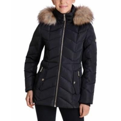 マイケルコース レディース コート アウター Petite Faux-Fur Trim Hooded Down Puffer Coat Black