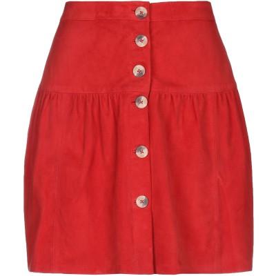 LEON & HARPER ひざ丈スカート レッド M 山羊革 100% ひざ丈スカート