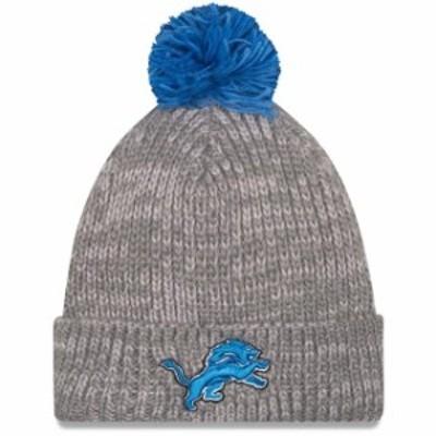 New Era ニュー エラ スポーツ用品  New Era Detroit Lions Heather Gray Start Cuff Knit Hat with Pom
