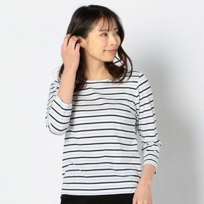 レディース 【在庫限り】婦人 マルチボーダー7分袖Tシャツ サックスブルー LL