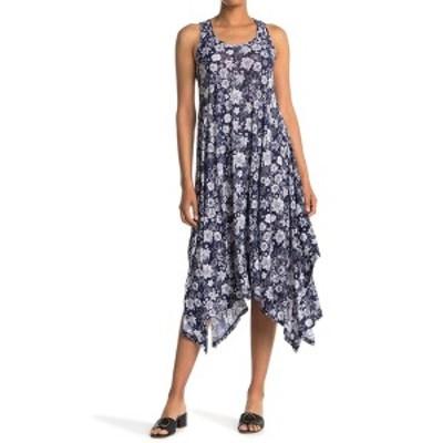 パピロン レディース ワンピース トップス Tropical Floral Handkerchief Hem Midi Dress NAVY
