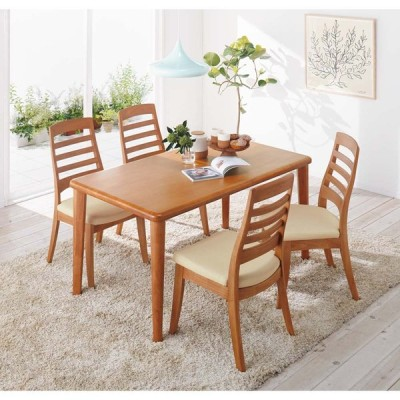 角が丸くて優しい天然木ダイニング テーブル 4本脚 幅140奥行80cm 508030