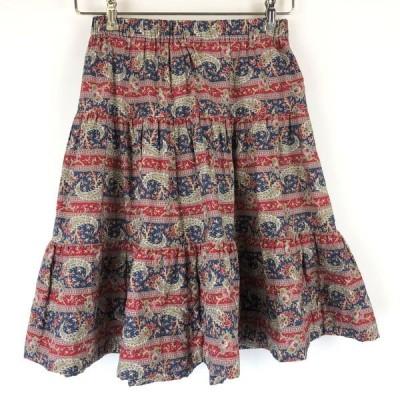 【古着】 Cyrillus 総柄スカート ティアードスカート ペイズリー柄 ポケットなし ヴィンテージ レッド系 レディースM n015697