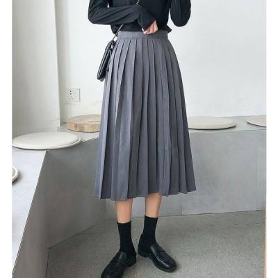 プリーツスカート ミモレ丈 半端丈 無地 シンプル サイドファスナー Aライン 体系カバー 上品 シック 大人 エレガント きれいめ