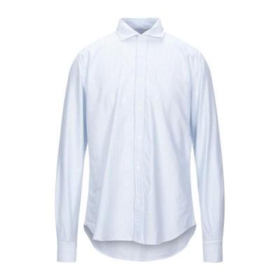 PORTOFIORI ストライプ柄シャツ  メンズファッション  トップス  シャツ、カジュアルシャツ  長袖 スカイブルー