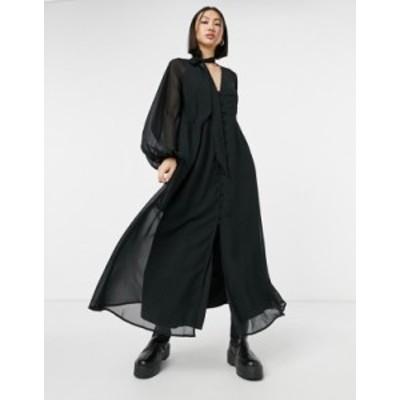 エイソス レディース ワンピース トップス ASOS DESIGN tie neck button-down maxi tea dress in black Black