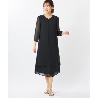 【大きいサイズ】 7分袖着脱らくらく重ね着風前ファスナーワンピース(オトナスマイル) ワンピース, plus size dress