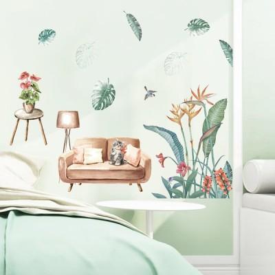 ウォールステッカー 壁紙 シール 貼ってはがせる 植物 壁装飾 防水 賃貸 マンション アパート 店舗 会社 オフィス 寝室 ホーム装飾  2枚セット 緑の植物