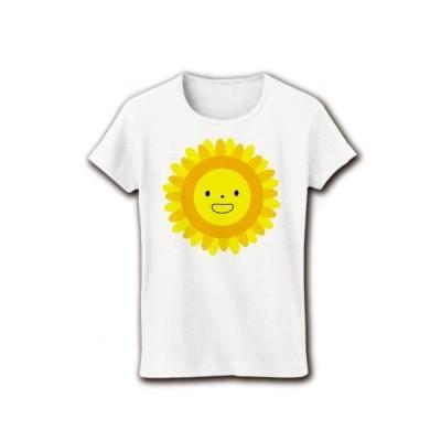 ひまわり リブクルーネックTシャツ(ホワイト)
