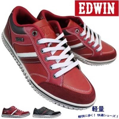 エドウィン EDW-7537 レッド ブラック メンズ シューズ スニーカー 靴 紐靴 EDWIN