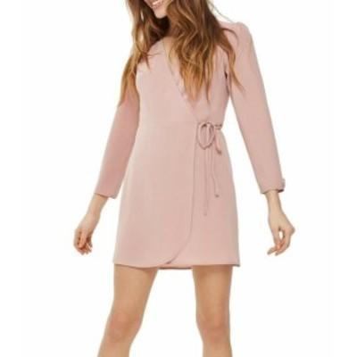 Topshop トップショップ ファッション ドレス TopShop Womens Blush Pink Size 2 Long Sleeve Crepe Mini Wrap Dress