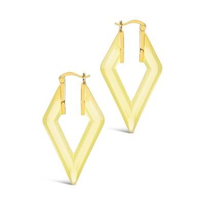 スターリングフォーエバー レディース ピアス&イヤリング アクセサリー Gold Plated Lucite Diamond Hoops - Canary GOLD