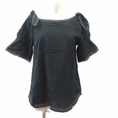 【中古】カージュ Khaju シャツ ブラウス オープンショルダー 半袖 リボン 黒 ブラック /CT レディース
