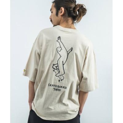 (Rocky Monroe/ロッキーモンロー)MARK GONZALES マークゴンザレス Tシャツ 半袖 メンズ レディース ビッグシルエット ルーズ ボックス 綿 コットン カジュアル ストリート プリ/ユニセックス ベージュ系1