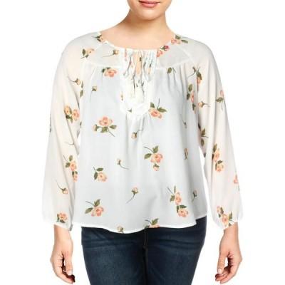 レディース 衣類 トップス Fever Womens Floral Print Tie Front Blouse White XL ブラウス&シャツ
