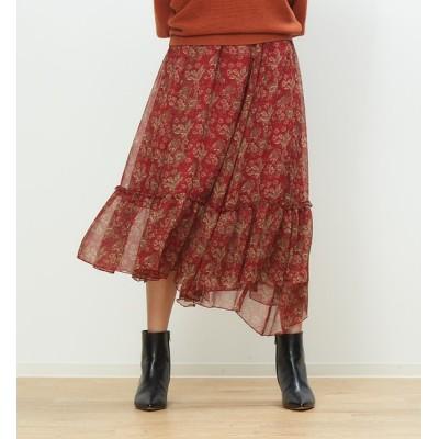 【ルージュ・ヴィフ ラクレ/Rouge vif la cle】 フラワープリントラッフルスカート