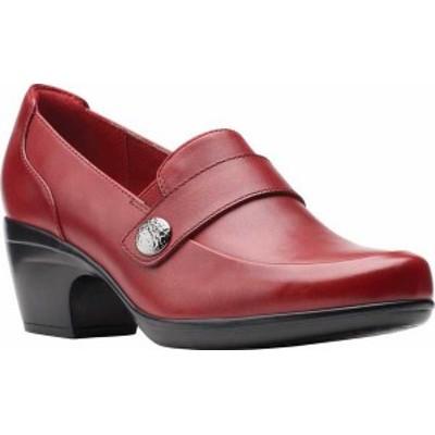 クラークス レディース スリッポン・ローファー シューズ Emily Andria Heeled Loafer Red Leather