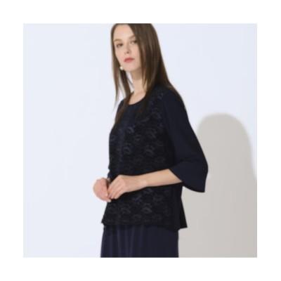 Liliane Burty/リリアンビューティ ベロアレース×ストレッチスムースTシャツ 【アンサンブル可】 ダークブルー 3L
