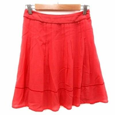 【中古】アプワイザーリッシェ Apuweiser-riche フレアスカート ひざ丈 1 赤 レッド /MS レディース