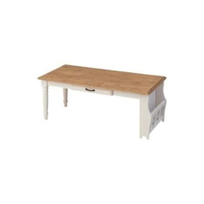 リビングテーブル ローテーブル 幅105cm ホワイト 白 木製