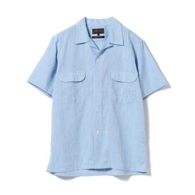 (BEAMS OUTLET/ビームス アウトレット)BEAMS PLUS / オープンカラー コットンリネン ショートスリーブシャツ/メンズ SAX