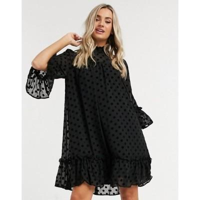 ピーシーズ レディース ワンピース トップス Pieces dobby mesh smock dress with high neck in black polka dot
