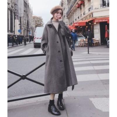 韓国ファッション トレンチコート 冬コーデ ニット レデイース アウター ベルト付き 厚手 ロングコート トレンド