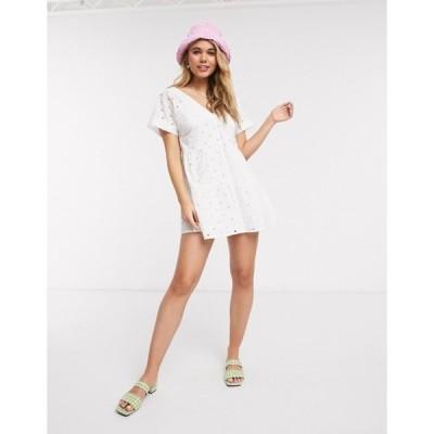 エイソス レディース ワンピース トップス ASOS DESIGN broderie v front v back tiered mini smock dress in white