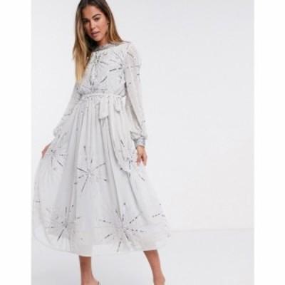 フロックアンドフリル Frock and Frill レディース ワンピース ミドル丈 ワンピース・ドレス embellished midi dress in silver grey シ