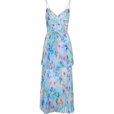 ノッテ バイ マルケッサ MARCHESA NOTTE レディース パーティードレス ワンピース・ドレス Floral pleated chiffon gown Blue Multi