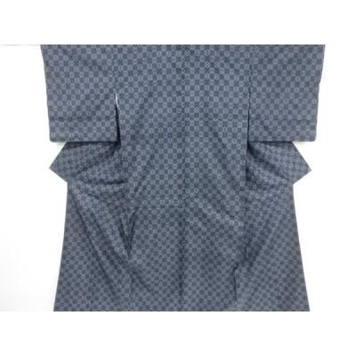 リサイクル 未使用品 斜め格子模様織り出し本場泥大島紬着物(7マルキ)