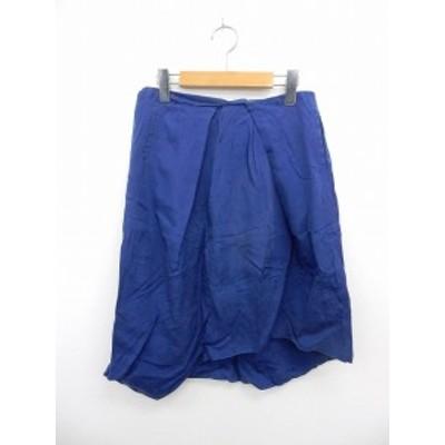 【中古】レディラックルカ LADY LUCK LUCA スカート 膝丈 バックジップ アシンメトリー ポケット 無地 シンプル 36 ブルー
