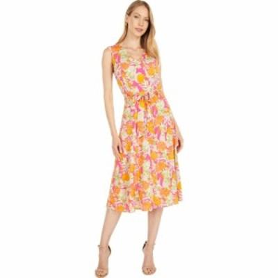 カルバンクライン Calvin Klein レディース ワンピース Vネック ワンピース・ドレス Printed V-Neck Angle Hem Dress Hibiscus/Tangelo