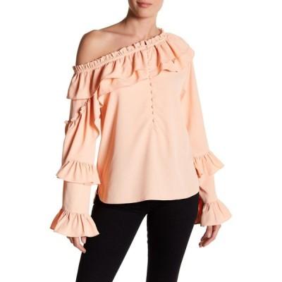トップス ウォルターベーカー Walter Baker IRINA TOP Peach  Crepe Blouse Pale Blush One Shoulder XS S L