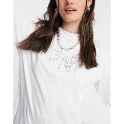 ジューシークチュール Juicy Couture レディース Tシャツ トップス T-Shirt With Diamonte Dripping Logo In White ホワイト