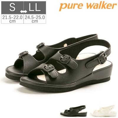 ナース サンダル シューズ 黒 白 ピュアウォーカー pure walker 滑りにくい ゆったり設計 幅広 足裏フィット オフィスサンダル CONFORT コンフォート