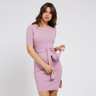 ゲス GUESS Rib Belted Dress (PINK DARLING)