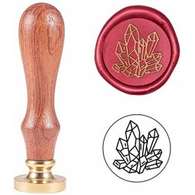シーリングスタンプ 1個 ダイヤモンドの図案 入れ替え シーリングワックス 木製ハンドル 真鍮 蝋封 印章 復古風 洋式の模様 手紙...
