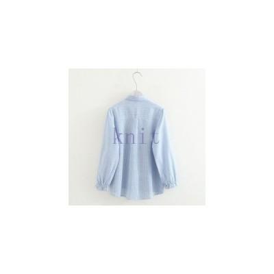 シャツレディース新品春秋上着可愛いリボン飾りストライプ刺繍GNZ-243