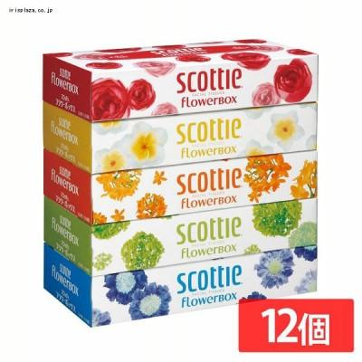 日本製紙クレシア [12個セット]スコッティ ティシュー フラワーボックス 320枚(160組) 5箱