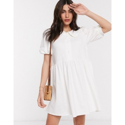 エイソス レディース ワンピース トップス ASOS DESIGN smock mini dress with prairie collar in ivory Ivory