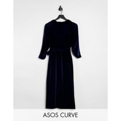 エイソス レディース ワンピース トップス ASOS DESIGN Curve velvet wrap midi dress in navy Navy