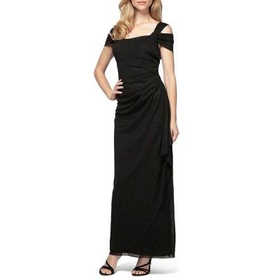 アレックスイブニングス レディース ワンピース トップス Glitter Mesh Square Neck Cold-Shoulder Gown Black