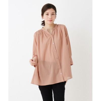 SHOO・LA・RUE/シューラルー 【M-3L】綿シフォンバンドカラーシャツ ピンク(072) 04(LL)