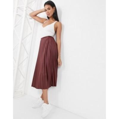 エイソス レディース スカート ボトムス ASOS DESIGN leather look pleated midi skirt in burgundy Burgundy