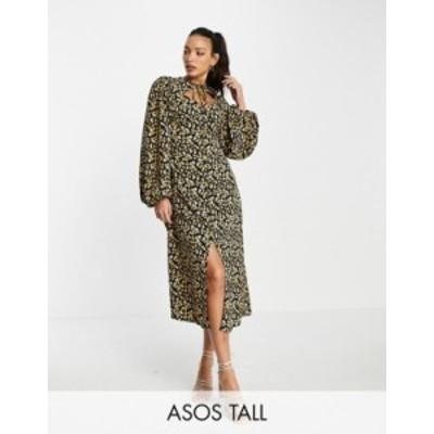 エイソス レディース ワンピース トップス ASOS DESIGN Tall midi dress with neck tie in dark based floral print Dark based floral