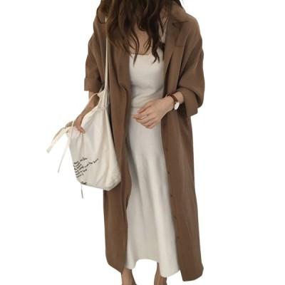 シャツワンピース 長袖 ロング 春 秋 2way ウエストマーク レディース 羽織り 大きいサイズ 体型カバー 薄手 可愛い お洒落